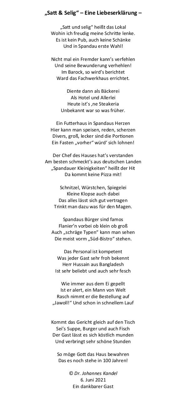 """Gedicht """"Satt & Selig"""" von © Dr. Johannes Kandel, Historiker und freier Autor"""